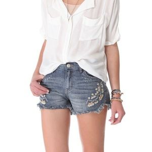 Free People Tulum Cut Off Embroidered Shorts